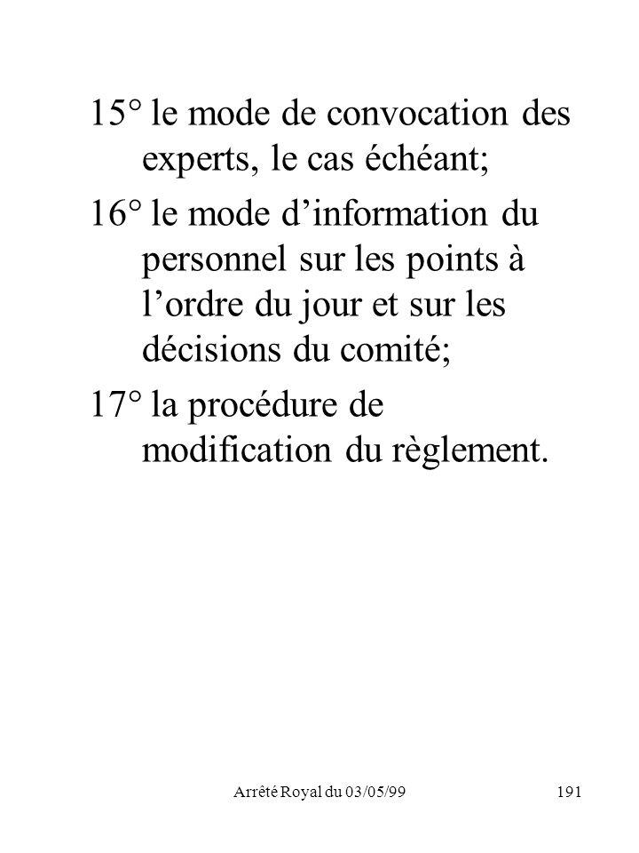 Arrêté Royal du 03/05/99191 15° le mode de convocation des experts, le cas échéant; 16° le mode dinformation du personnel sur les points à lordre du j
