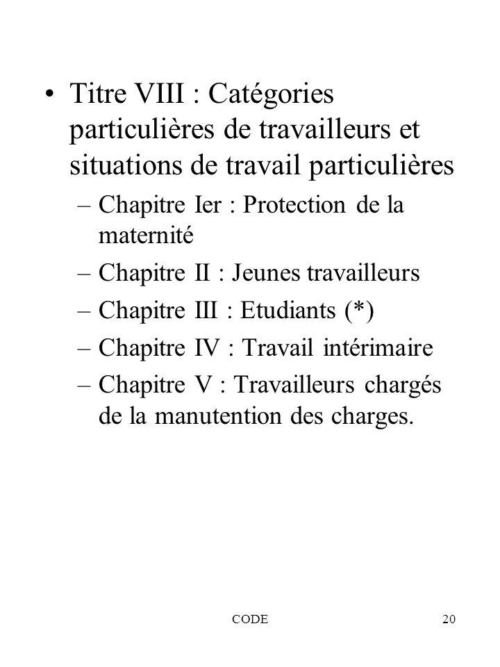 CODE20 Titre VIII : Catégories particulières de travailleurs et situations de travail particulières –Chapitre Ier : Protection de la maternité –Chapit