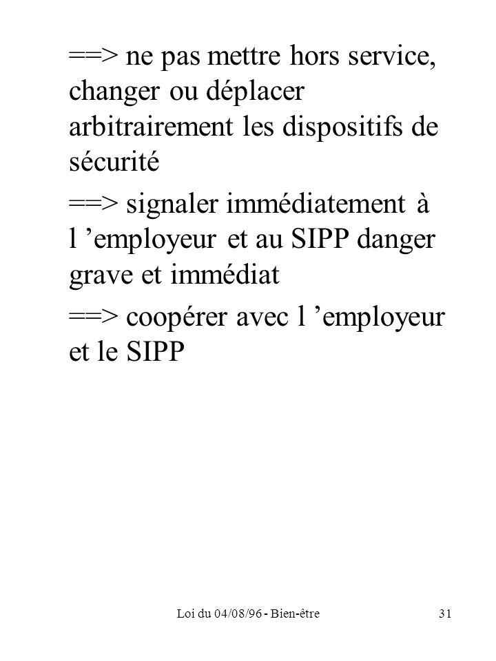 Loi du 04/08/96 - Bien-être31 ==> ne pas mettre hors service, changer ou déplacer arbitrairement les dispositifs de sécurité ==> signaler immédiatemen