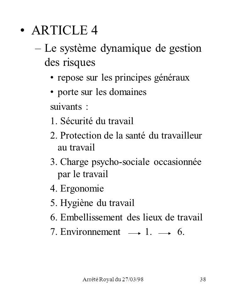 Arrêté Royal du 27/03/9838 ARTICLE 4 –Le système dynamique de gestion des risques repose sur les principes généraux porte sur les domaines suivants :