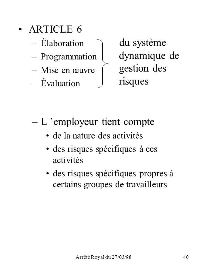 Arrêté Royal du 27/03/9840 ARTICLE 6 –Élaboration –Programmation –Mise en œuvre –Évaluation du système dynamique de gestion des risques –L employeur t