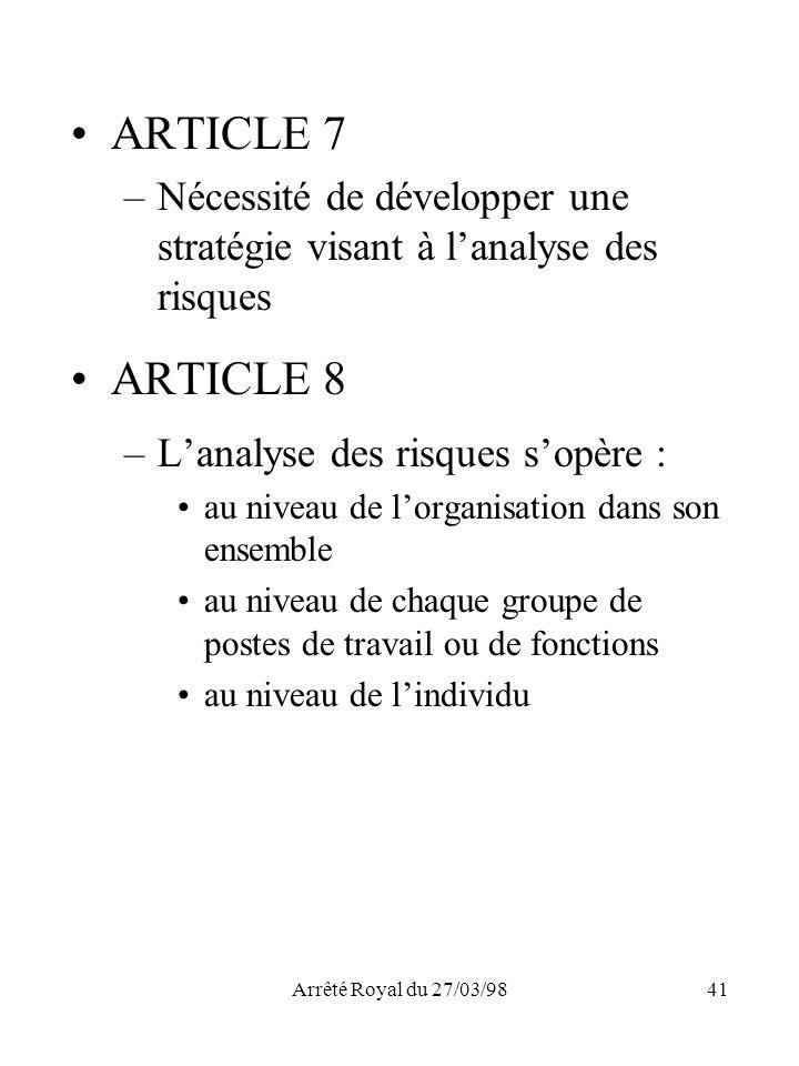 Arrêté Royal du 27/03/9841 ARTICLE 7 –Nécessité de développer une stratégie visant à lanalyse des risques ARTICLE 8 –Lanalyse des risques sopère : au