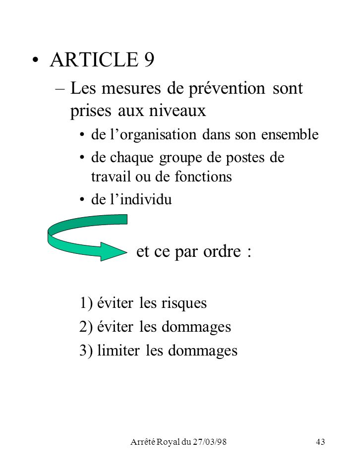 Arrêté Royal du 27/03/9843 ARTICLE 9 –Les mesures de prévention sont prises aux niveaux de lorganisation dans son ensemble de chaque groupe de postes