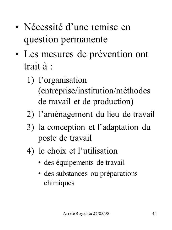 Arrêté Royal du 27/03/9844 Nécessité dune remise en question permanente Les mesures de prévention ont trait à : 1) lorganisation (entreprise/instituti
