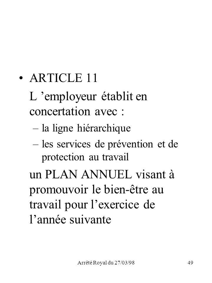 Arrêté Royal du 27/03/9849 ARTICLE 11 L employeur établit en concertation avec : –la ligne hiérarchique –les services de prévention et de protection a