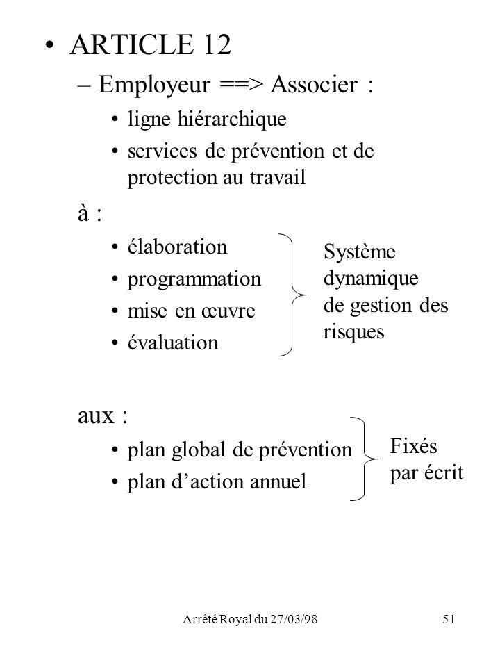 Arrêté Royal du 27/03/9851 ARTICLE 12 –Employeur ==> Associer : ligne hiérarchique services de prévention et de protection au travail à : élaboration