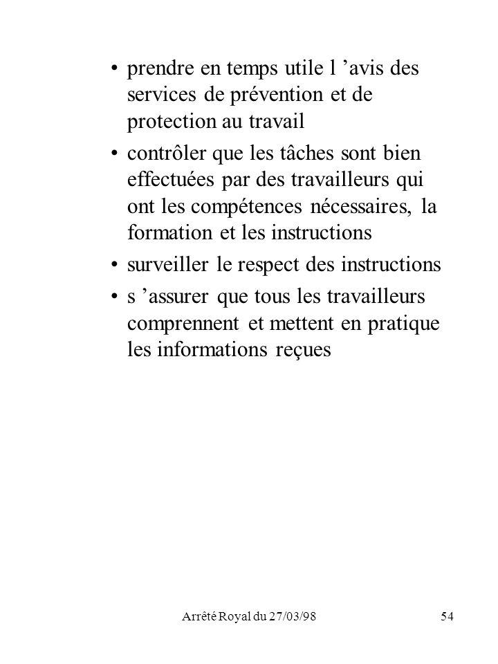 Arrêté Royal du 27/03/9854 prendre en temps utile l avis des services de prévention et de protection au travail contrôler que les tâches sont bien eff