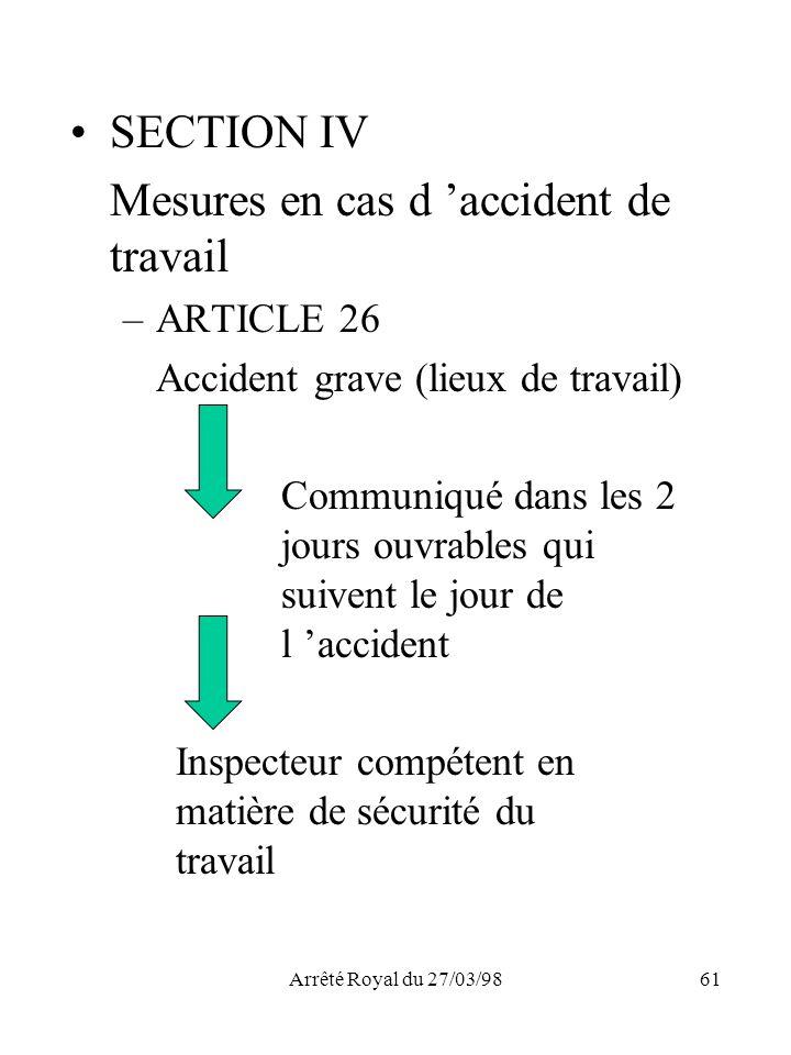 Arrêté Royal du 27/03/9861 SECTION IV Mesures en cas d accident de travail –ARTICLE 26 Accident grave (lieux de travail) Communiqué dans les 2 jours o