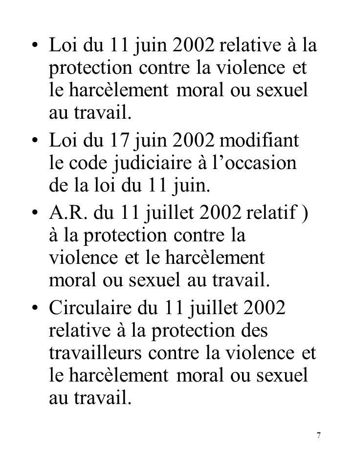 7 Loi du 11 juin 2002 relative à la protection contre la violence et le harcèlement moral ou sexuel au travail. Loi du 17 juin 2002 modifiant le code