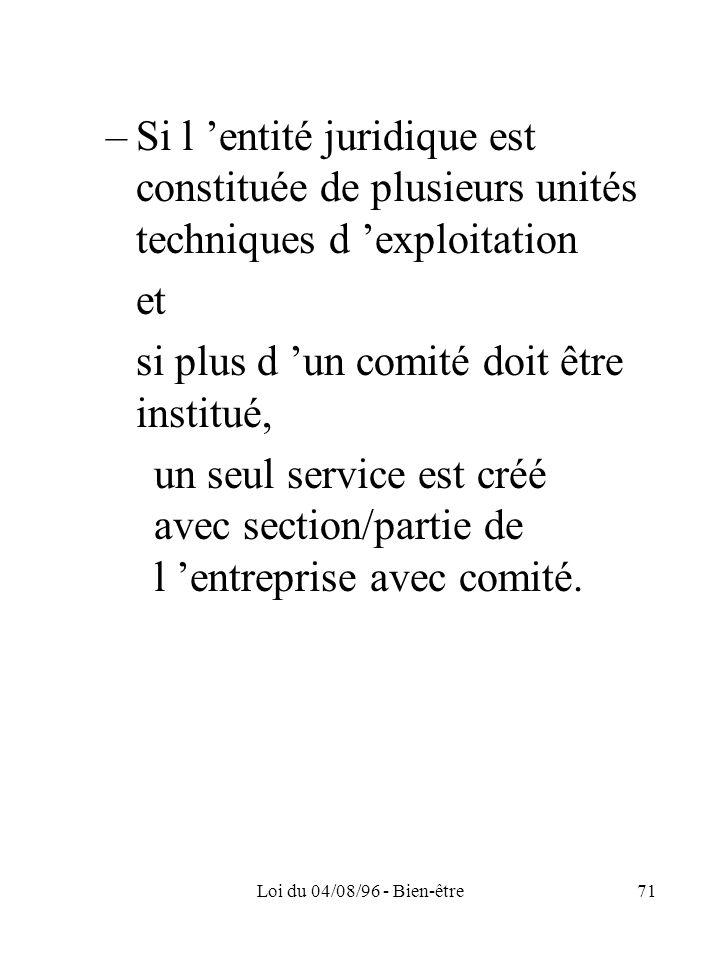 Loi du 04/08/96 - Bien-être71 –Si l entité juridique est constituée de plusieurs unités techniques d exploitation et si plus d un comité doit être ins