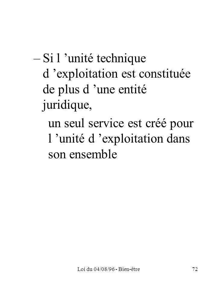 Loi du 04/08/96 - Bien-être72 –Si l unité technique d exploitation est constituée de plus d une entité juridique, un seul service est créé pour l unit