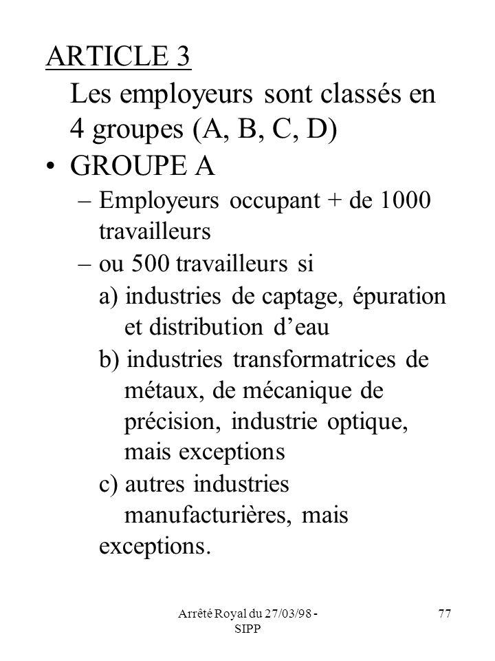 Arrêté Royal du 27/03/98 - SIPP 77 ARTICLE 3 Les employeurs sont classés en 4 groupes (A, B, C, D) GROUPE A –Employeurs occupant + de 1000 travailleur