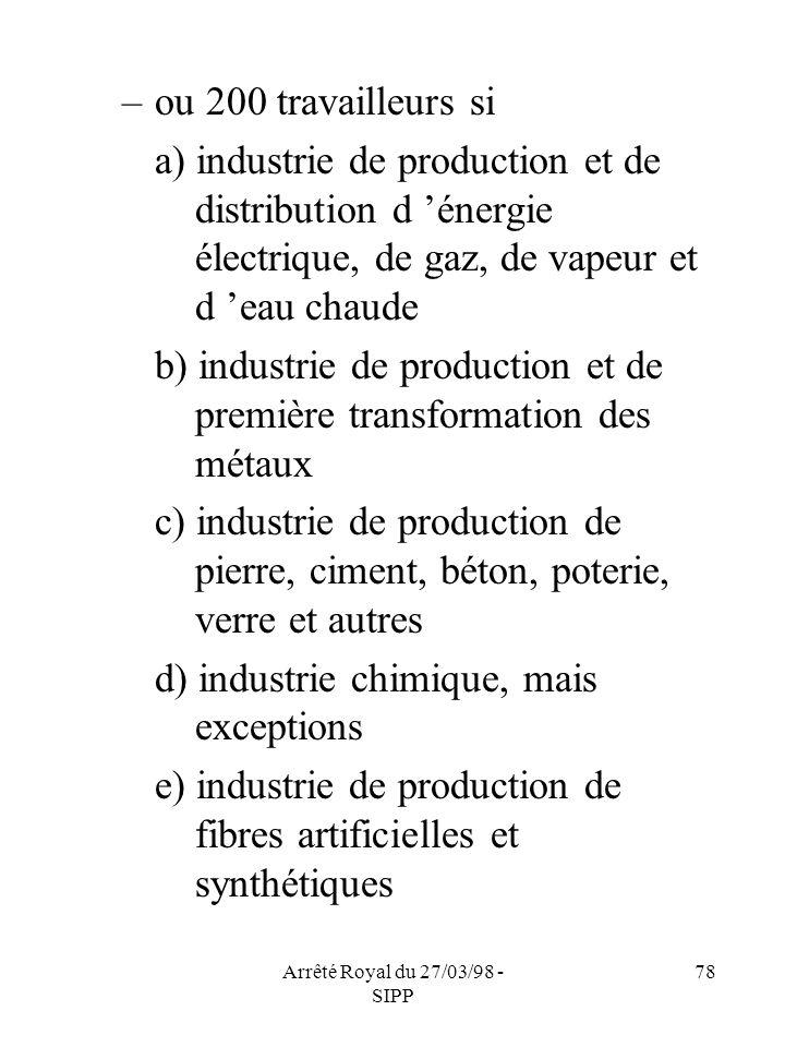 Arrêté Royal du 27/03/98 - SIPP 78 –ou 200 travailleurs si a) industrie de production et de distribution d énergie électrique, de gaz, de vapeur et d