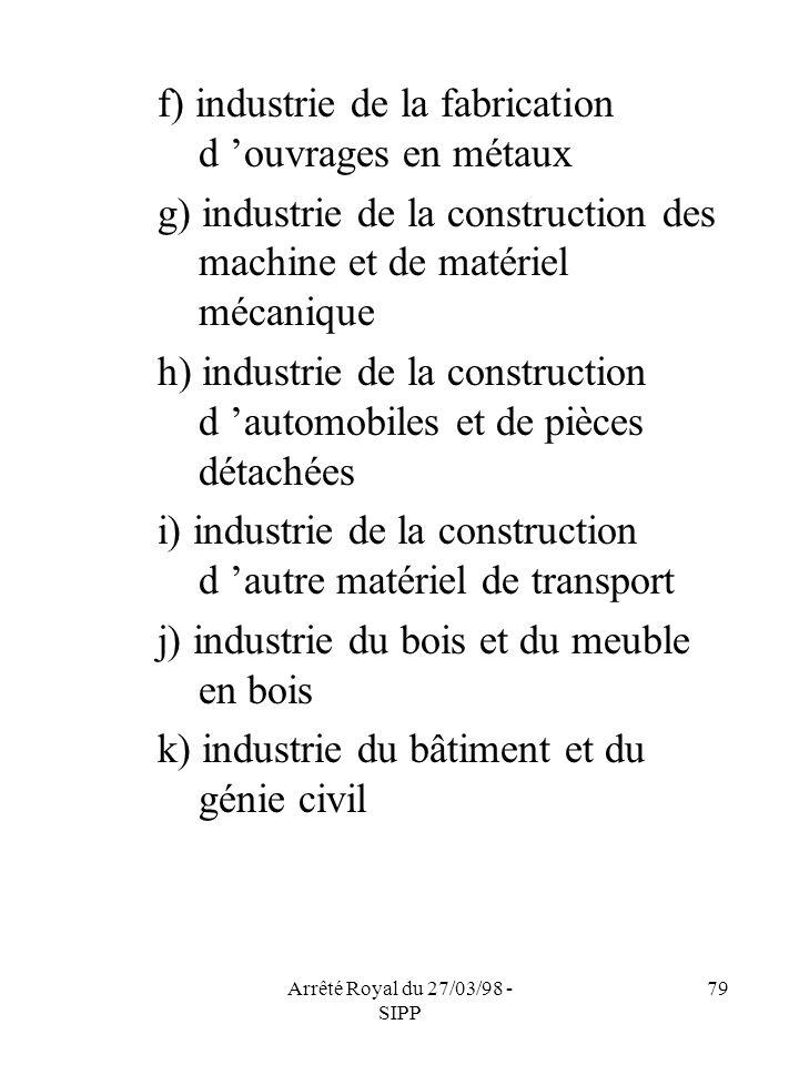 Arrêté Royal du 27/03/98 - SIPP 79 f) industrie de la fabrication d ouvrages en métaux g) industrie de la construction des machine et de matériel méca