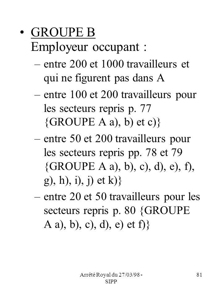 Arrêté Royal du 27/03/98 - SIPP 81 GROUPE B Employeur occupant : –entre 200 et 1000 travailleurs et qui ne figurent pas dans A –entre 100 et 200 trava