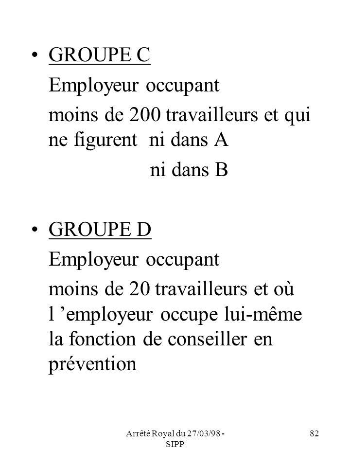 Arrêté Royal du 27/03/98 - SIPP 82 GROUPE C Employeur occupant moins de 200 travailleurs et qui ne figurent ni dans A ni dans B GROUPE D Employeur occ