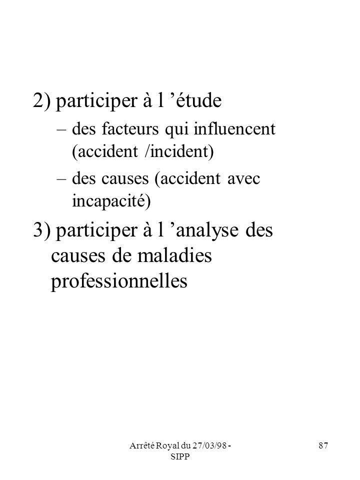 Arrêté Royal du 27/03/98 - SIPP 87 2) participer à l étude –des facteurs qui influencent (accident /incident) –des causes (accident avec incapacité) 3