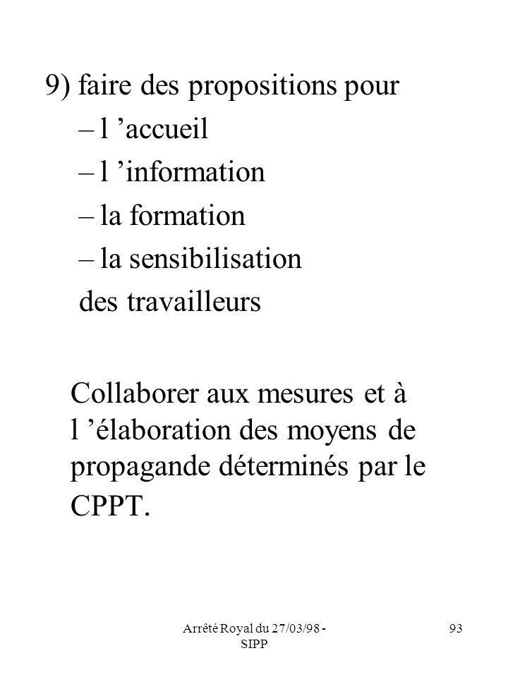 Arrêté Royal du 27/03/98 - SIPP 93 9) faire des propositions pour –l accueil –l information –la formation –la sensibilisation des travailleurs Collabo