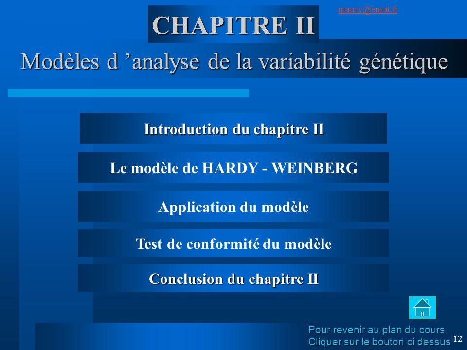SuivantPrécédent maury@ensat.fr 12 Modèles d analyse de la variabilité génétique CHAPITRE II Introduction du chapitre II Le modèle de HARDY - WEINBERG