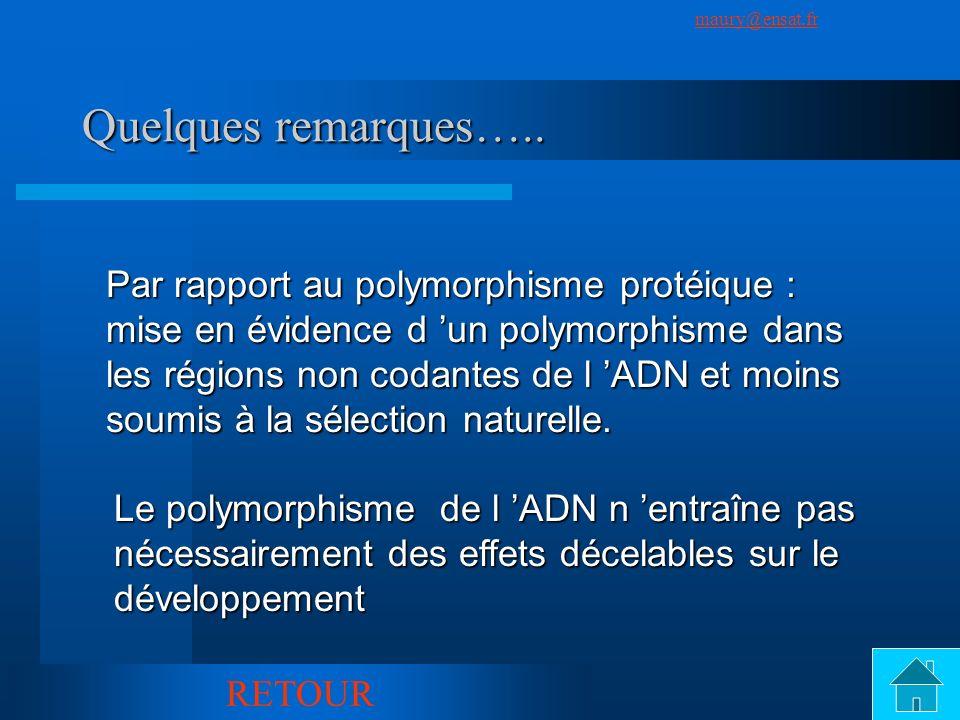SuivantPrécédent maury@ensat.fr 8 Quelques remarques….. Par rapport au polymorphisme protéique : mise en évidence d un polymorphisme dans les régions