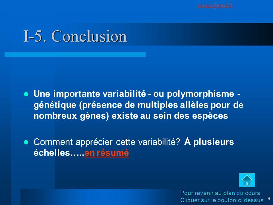 SuivantPrécédent maury@ensat.fr 9 I-5. Conclusion Une importante variabilité - ou polymorphisme - génétique (présence de multiples allèles pour de nom
