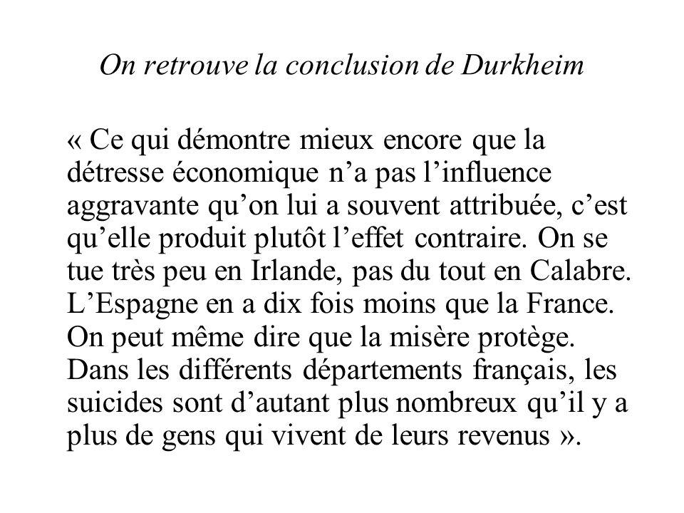 On retrouve la conclusion de Durkheim « Ce qui démontre mieux encore que la détresse économique na pas linfluence aggravante quon lui a souvent attribuée, cest quelle produit plutôt leffet contraire.