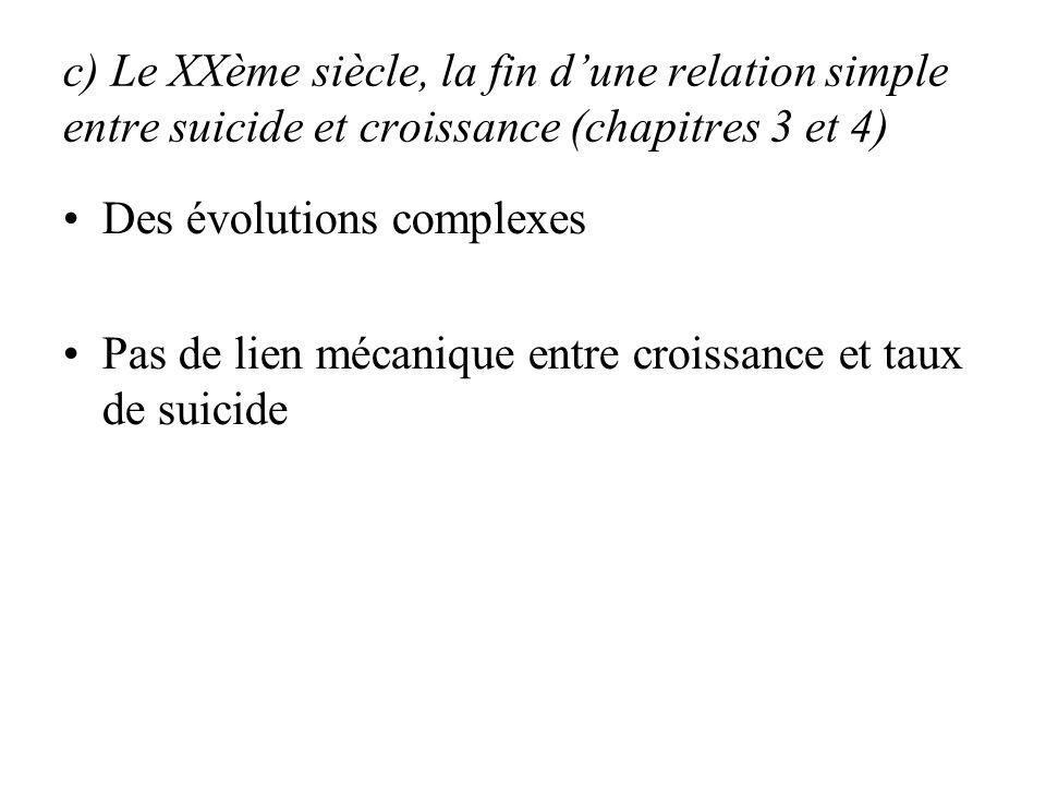 c) Le XXème siècle, la fin dune relation simple entre suicide et croissance (chapitres 3 et 4) Des évolutions complexes Pas de lien mécanique entre croissance et taux de suicide