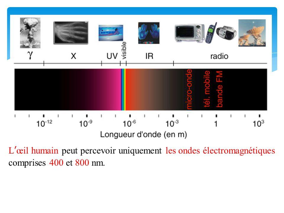 Lœil humain peut percevoir uniquement les ondes électromagnétiques comprises 400 et 800 nm.