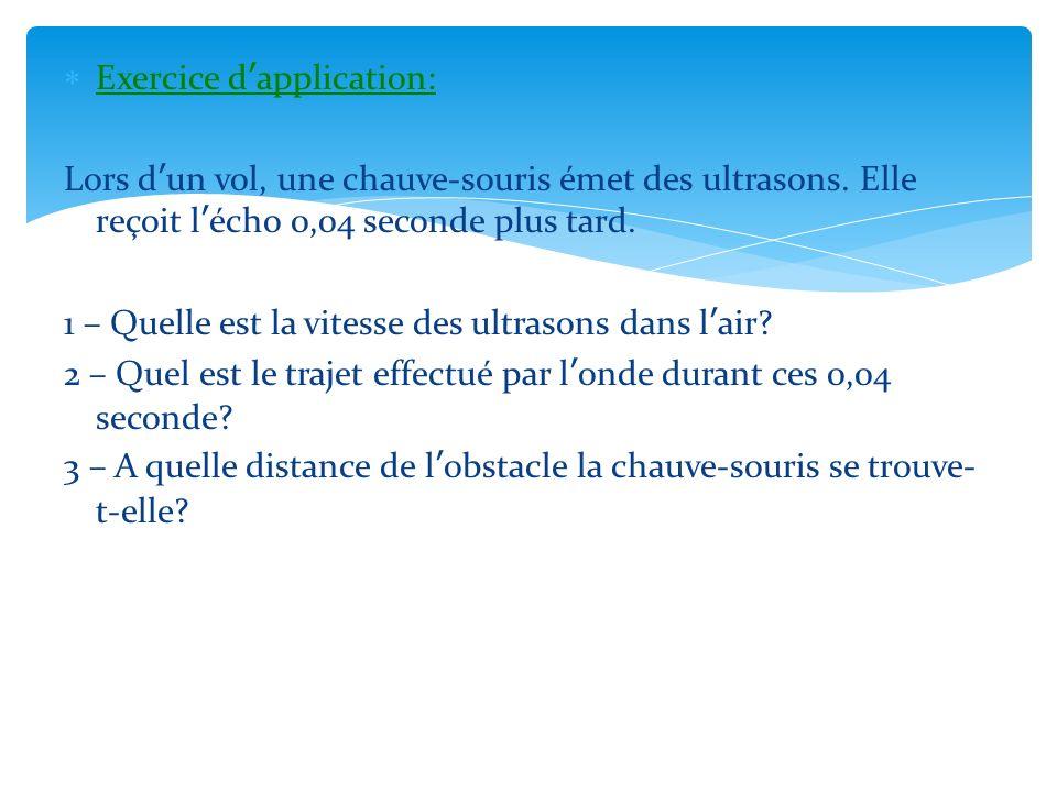 Exercice dapplication: Lors dun vol, une chauve-souris émet des ultrasons. Elle reçoit lécho 0,04 seconde plus tard. 1 – Quelle est la vitesse des ult