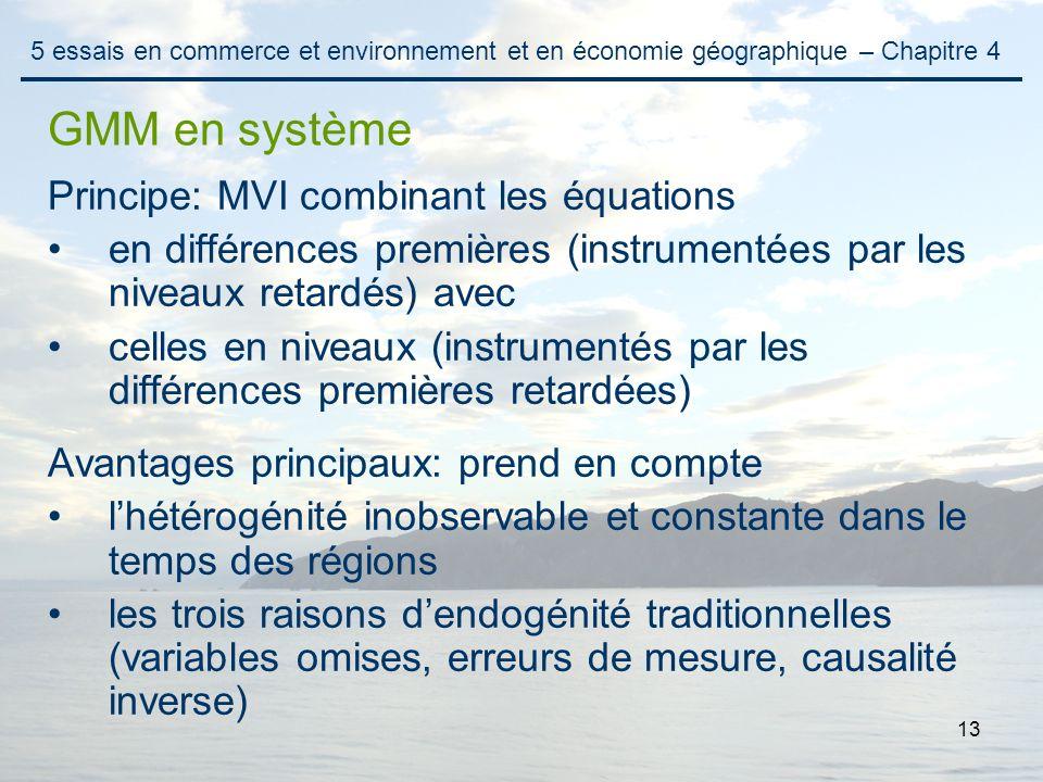 13 Principe: MVI combinant les équations en différences premières (instrumentées par les niveaux retardés) avec celles en niveaux (instrumentés par le