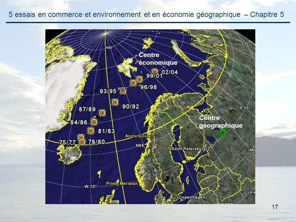 17 5 essais en commerce et environnement et en économie géographique – Chapitre 5 Centre géographique Centre économique