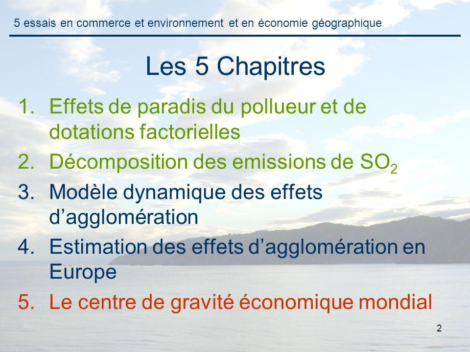 2 Les 5 Chapitres 1.Effets de paradis du pollueur et de dotations factorielles 2.Décomposition des emissions de SO 2 3.Modèle dynamique des effets dag
