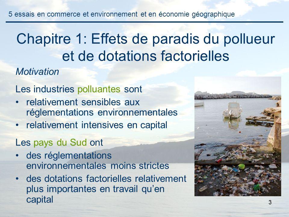 3 Chapitre 1: Effets de paradis du pollueur et de dotations factorielles Motivation Les industries polluantes sont relativement sensibles aux réglemen