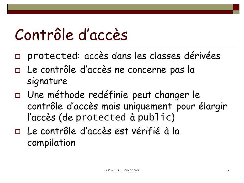 POO-L3 H. Fauconnier29 Contrôle daccès protected : accès dans les classes dérivées Le contrôle daccès ne concerne pas la signature Une méthode redéfin