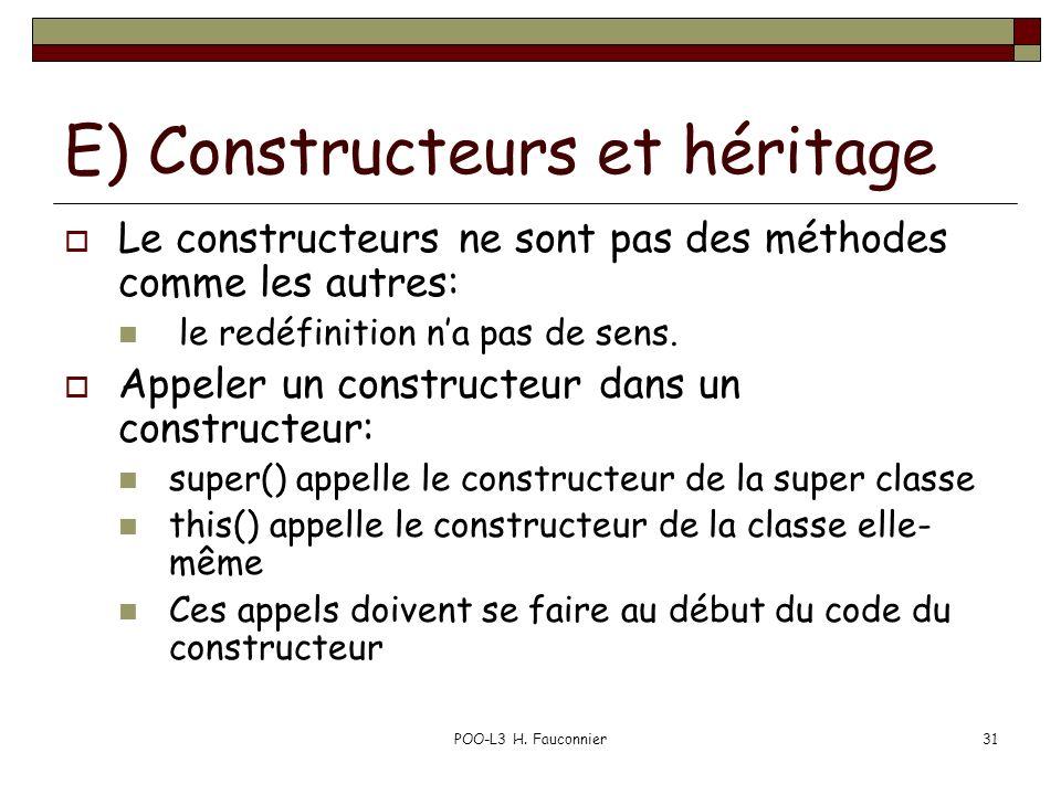 POO-L3 H. Fauconnier31 E) Constructeurs et héritage Le constructeurs ne sont pas des méthodes comme les autres: le redéfinition na pas de sens. Appele