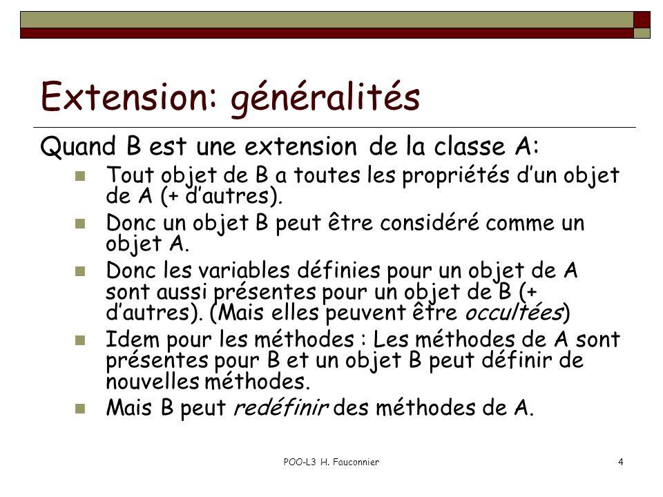 POO-L3 H. Fauconnier4 Extension: généralités Quand B est une extension de la classe A: Tout objet de B a toutes les propriétés dun objet de A (+ dautr