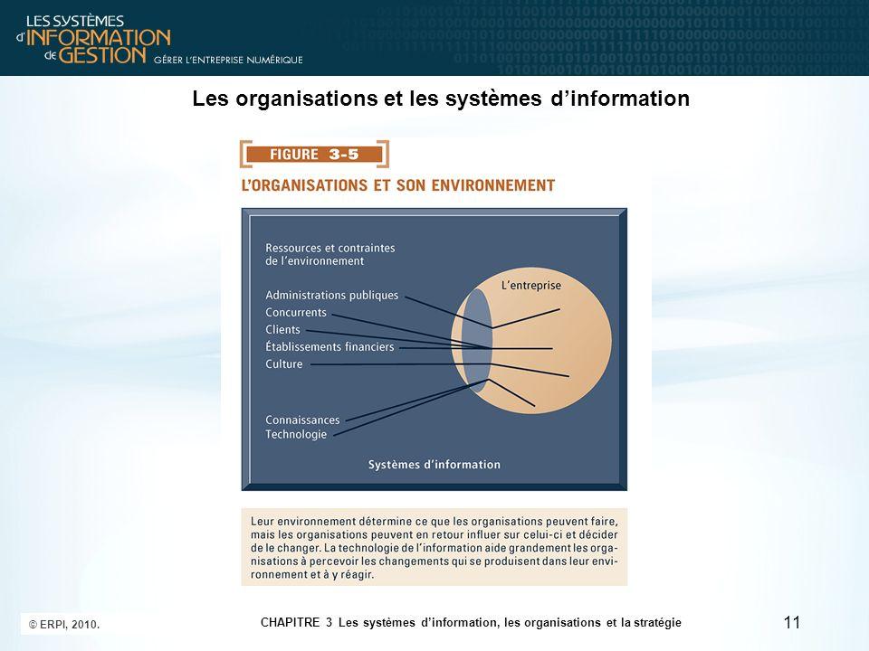 11 CHAPITRE 3 Les systèmes dinformation, les organisations et la stratégie © ERPI, 2010.