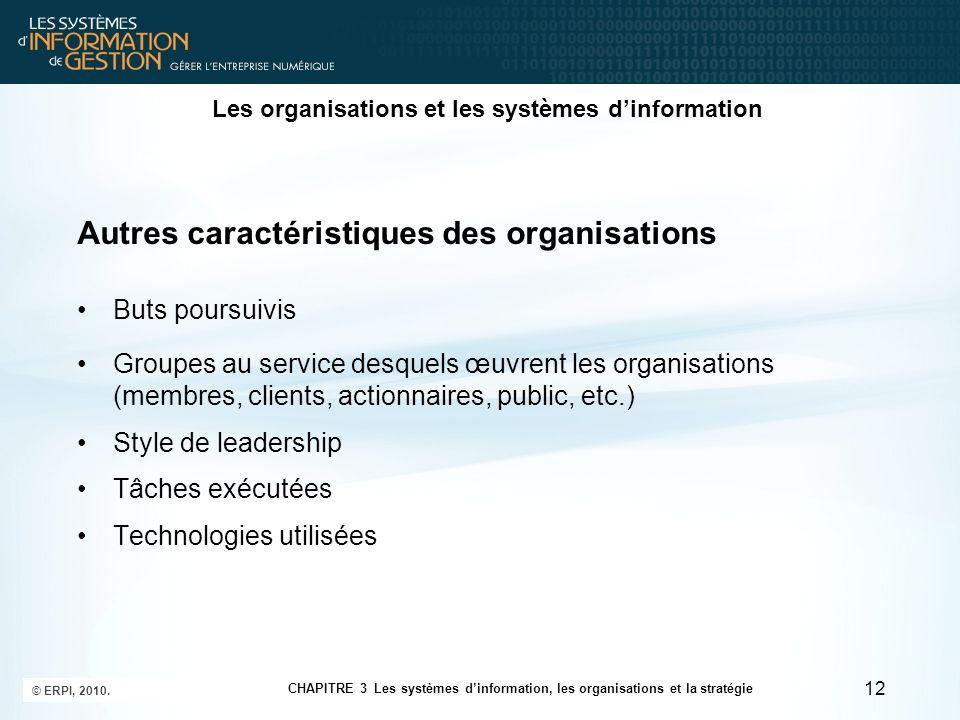 Les organisations et les systèmes dinformation Autres caractéristiques des organisations Buts poursuivis Groupes au service desquels œuvrent les organ