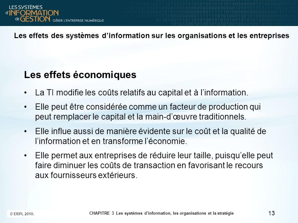 Les effets économiques La TI modifie les coûts relatifs au capital et à linformation. Elle peut être considérée comme un facteur de production qui peu