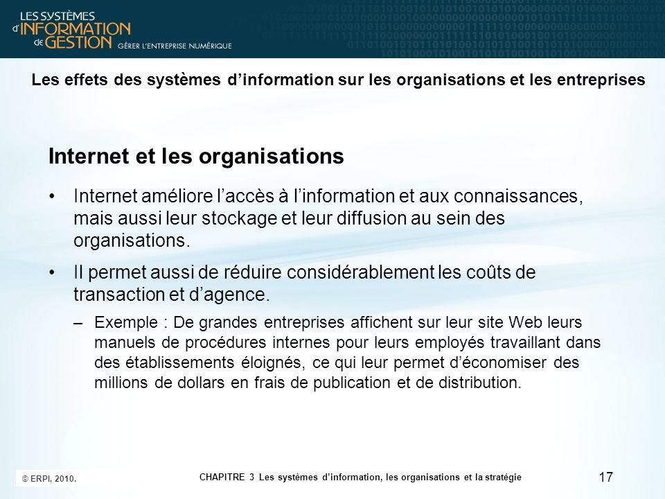 Internet et les organisations Internet améliore laccès à linformation et aux connaissances, mais aussi leur stockage et leur diffusion au sein des org