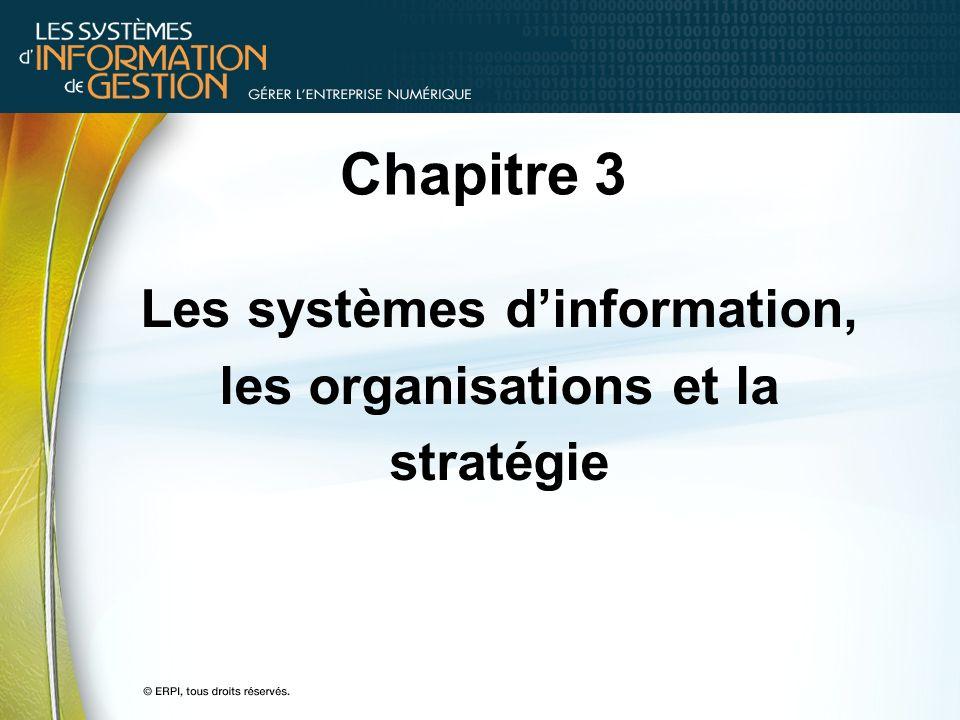 Chapitre 3 Les systèmes dinformation, les organisations et la stratégie