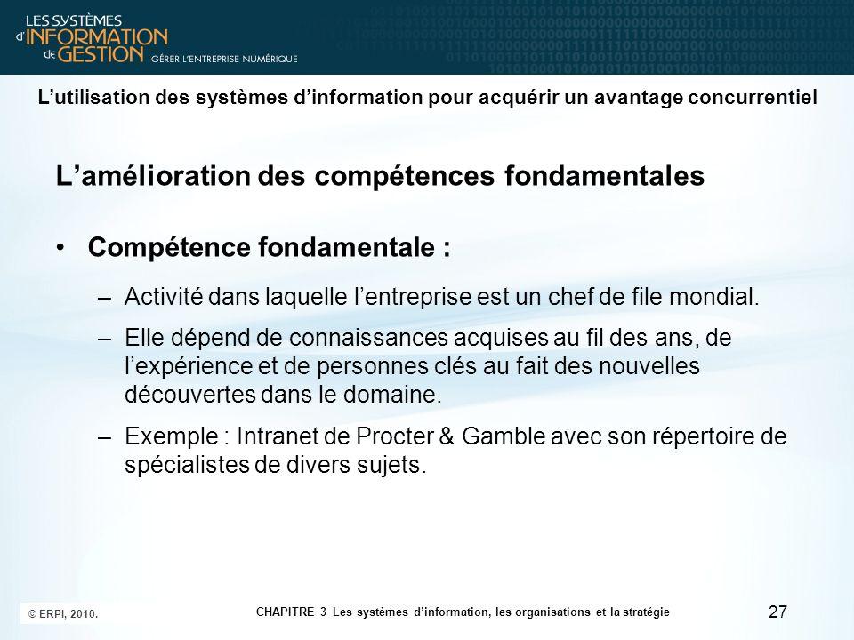 Lamélioration des compétences fondamentales Compétence fondamentale : –Activité dans laquelle lentreprise est un chef de file mondial. –Elle dépend de
