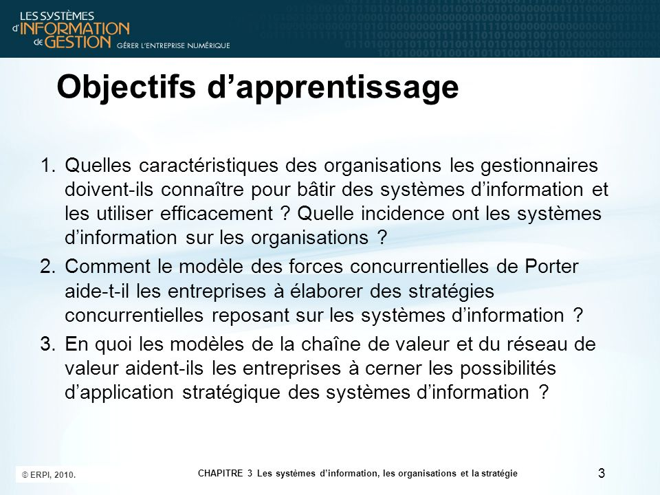 14 CHAPITRE 3 Les systèmes dinformation, les organisations et la stratégie © ERPI, 2010.