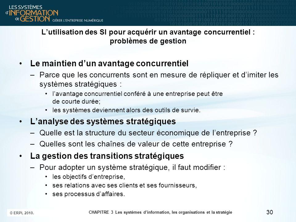 Lutilisation des SI pour acquérir un avantage concurrentiel : problèmes de gestion Le maintien dun avantage concurrentiel –Parce que les concurrents s