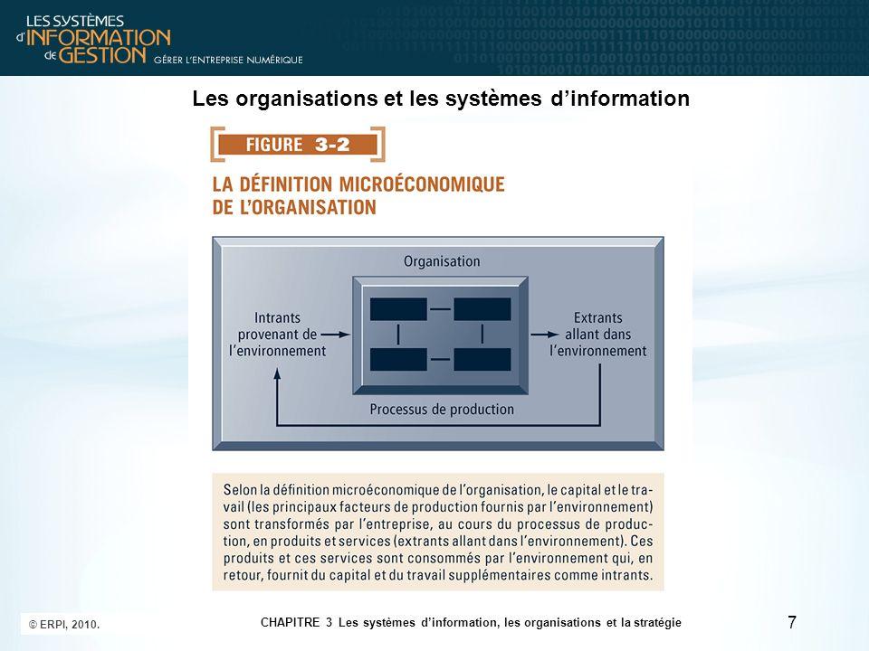 Lutilisation des systèmes dinformation pour acquérir un avantage concurrentiel 18 CHAPITRE 3 Les systèmes dinformation, les organisations et la stratégie © ERPI, 2010.