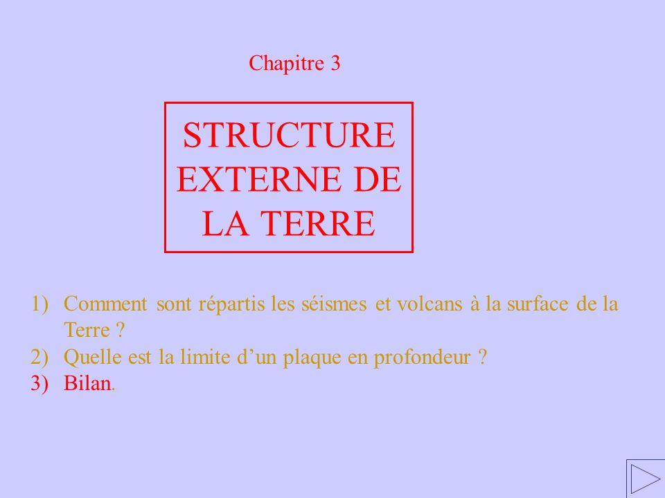 Chapitre 3 1)Comment sont répartis les séismes et volcans à la surface de la Terre ? 2)Quelle est la limite dun plaque en profondeur ? 3)Bilan. STRUCT