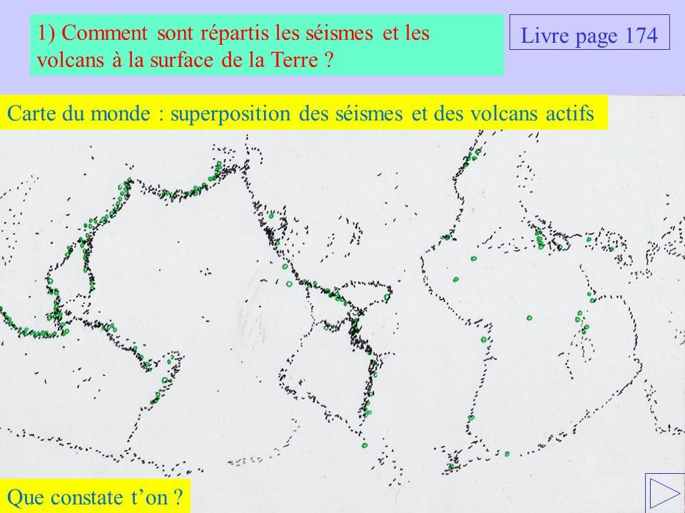 Carte du monde : superposition des séismes et des volcans actifs 1) Comment sont répartis les séismes et les volcans à la surface de la Terre ? Que co