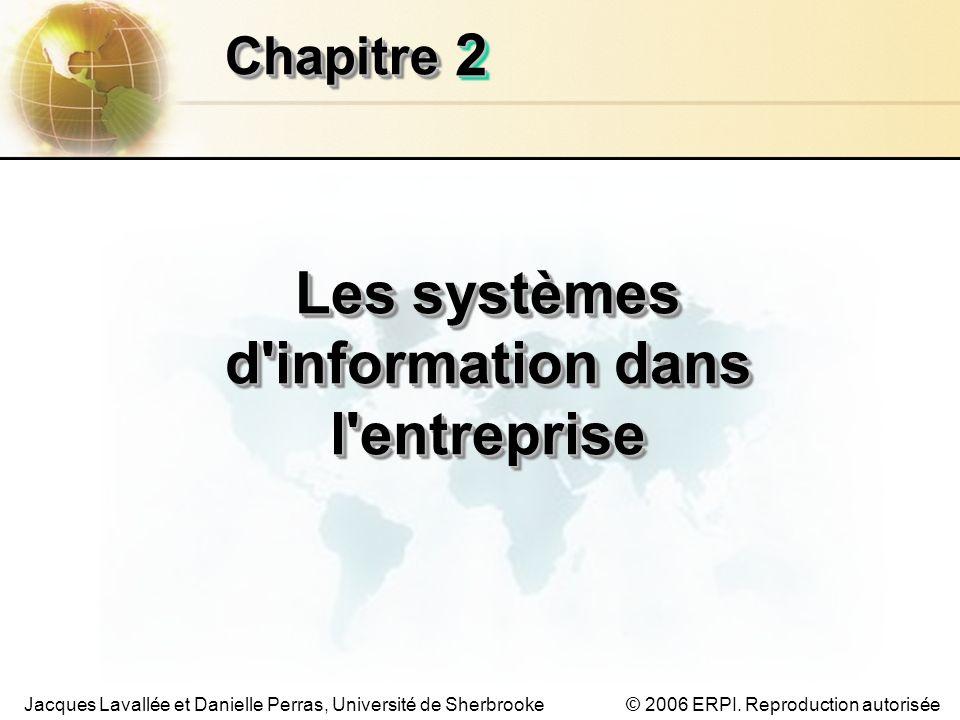 © 2006 ERPI. Reproduction autoriséeJacques Lavallée et Danielle Perras, Université de Sherbrooke 22 ChapitreChapitre Les systèmes d'information dans l