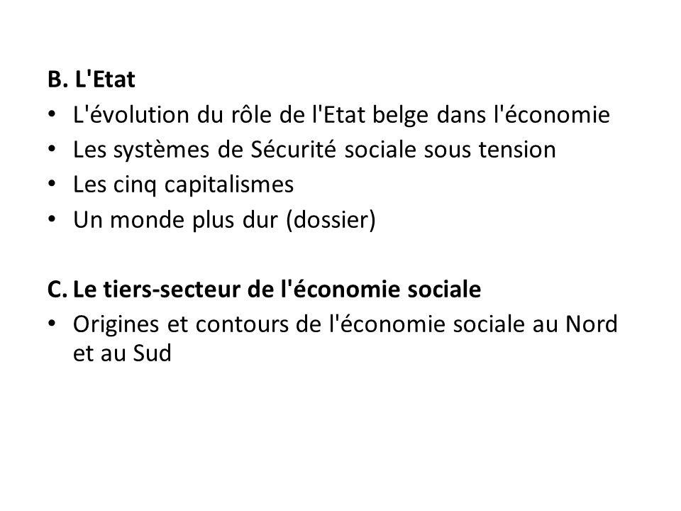 B. L'Etat L'évolution du rôle de l'Etat belge dans l'économie Les systèmes de Sécurité sociale sous tension Les cinq capitalismes Un monde plus dur (d