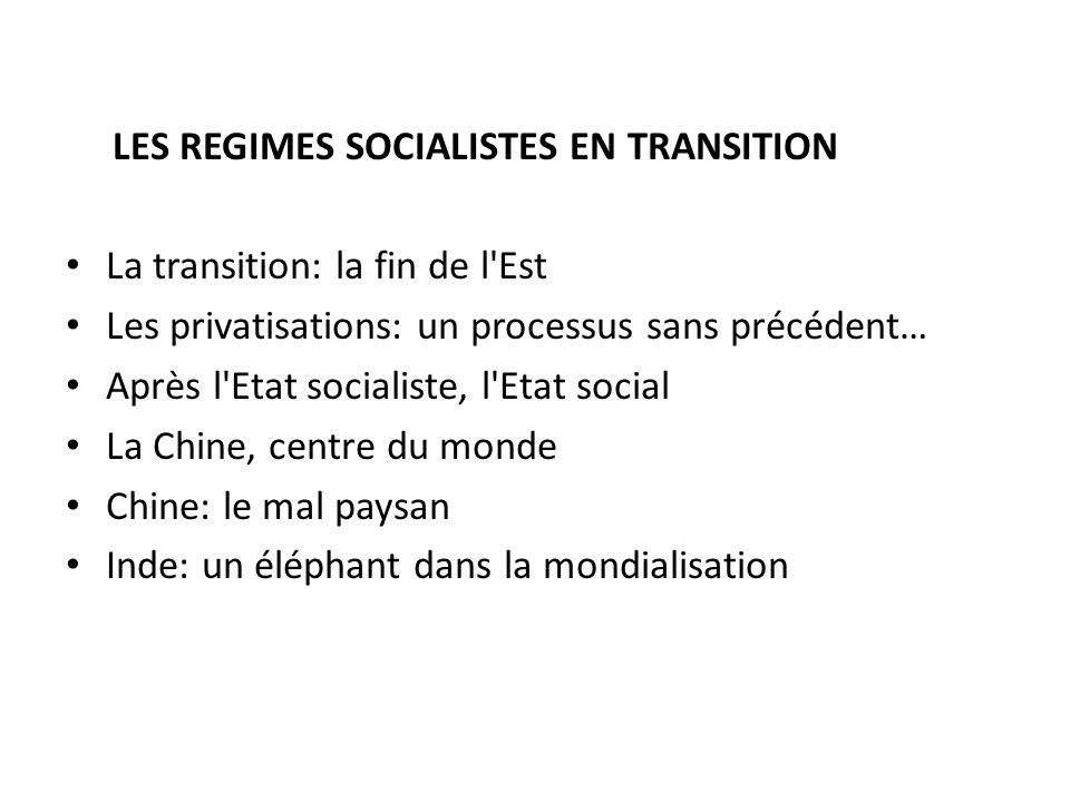 LES REGIMES SOCIALISTES EN TRANSITION La transition: la fin de l'Est Les privatisations: un processus sans précédent… Après l'Etat socialiste, l'Etat